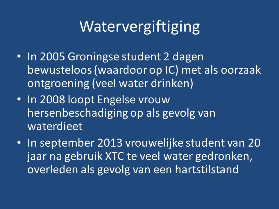 Watervergiftiging In 2005 Groningse student 2 dagen bewusteloos (waardoor op IC) met als oorzaak ontgroening (veel water drinken)