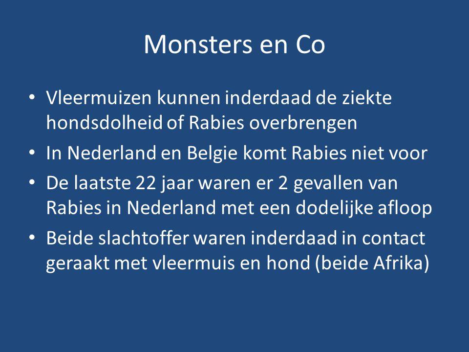 Monsters en Co Vleermuizen kunnen inderdaad de ziekte hondsdolheid of Rabies overbrengen. In Nederland en Belgie komt Rabies niet voor.