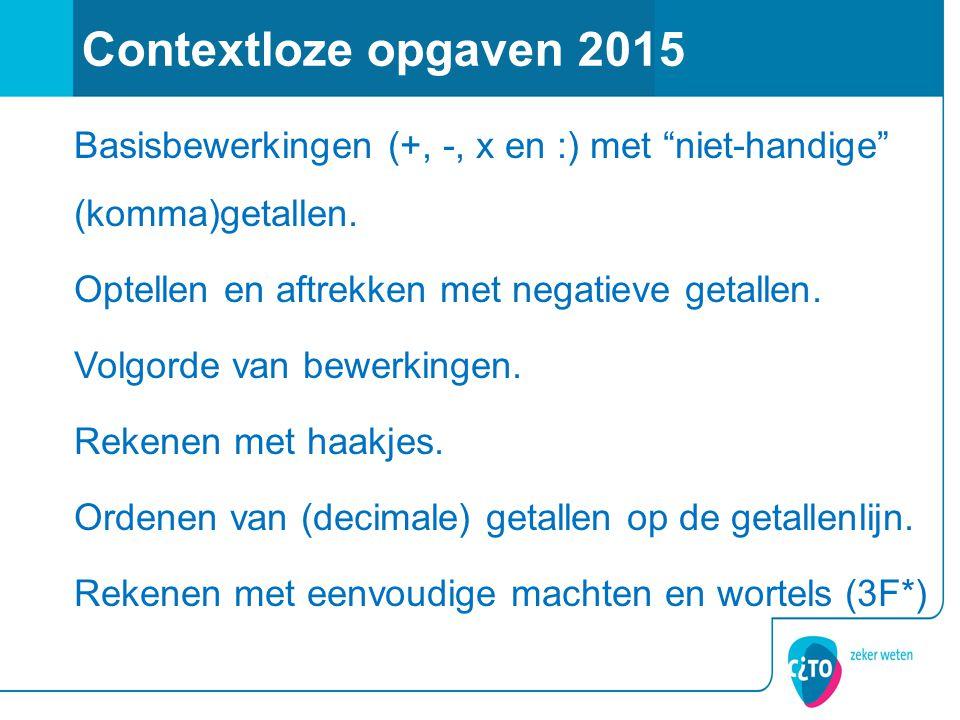 Contextloze opgaven 2015