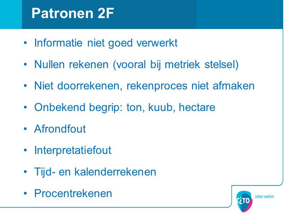 Patronen 2F Informatie niet goed verwerkt