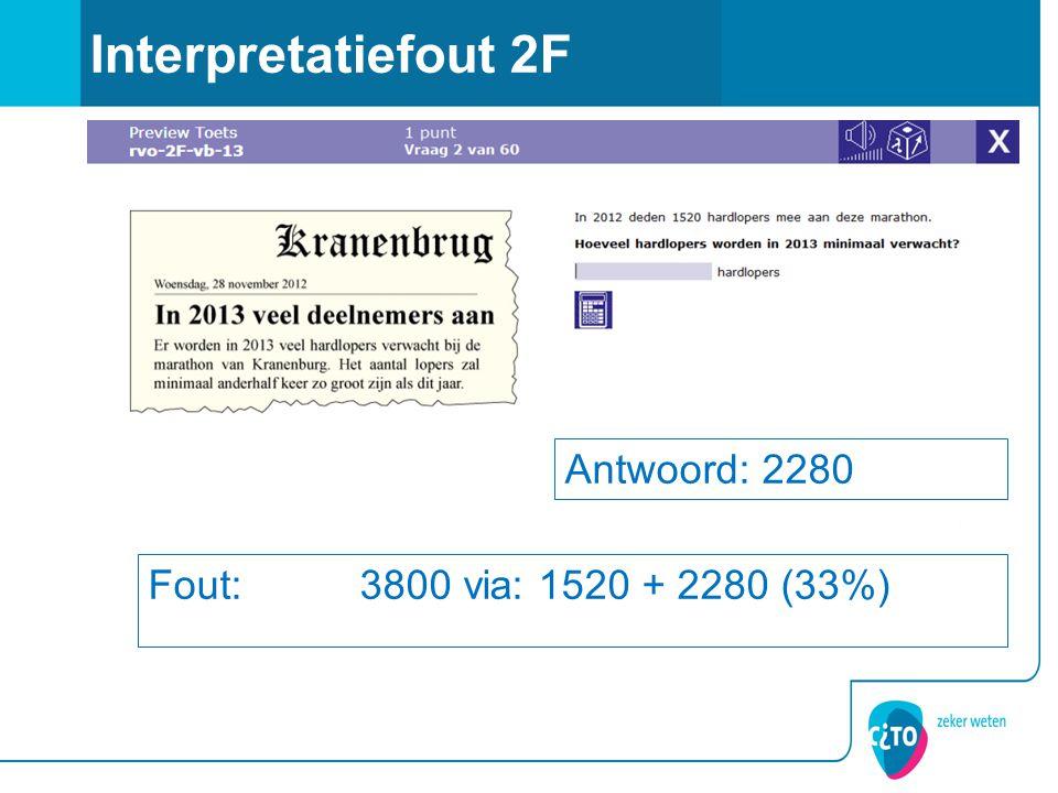Interpretatiefout 2F Antwoord: 2280 Fout: 3800 via: 1520 + 2280 (33%)