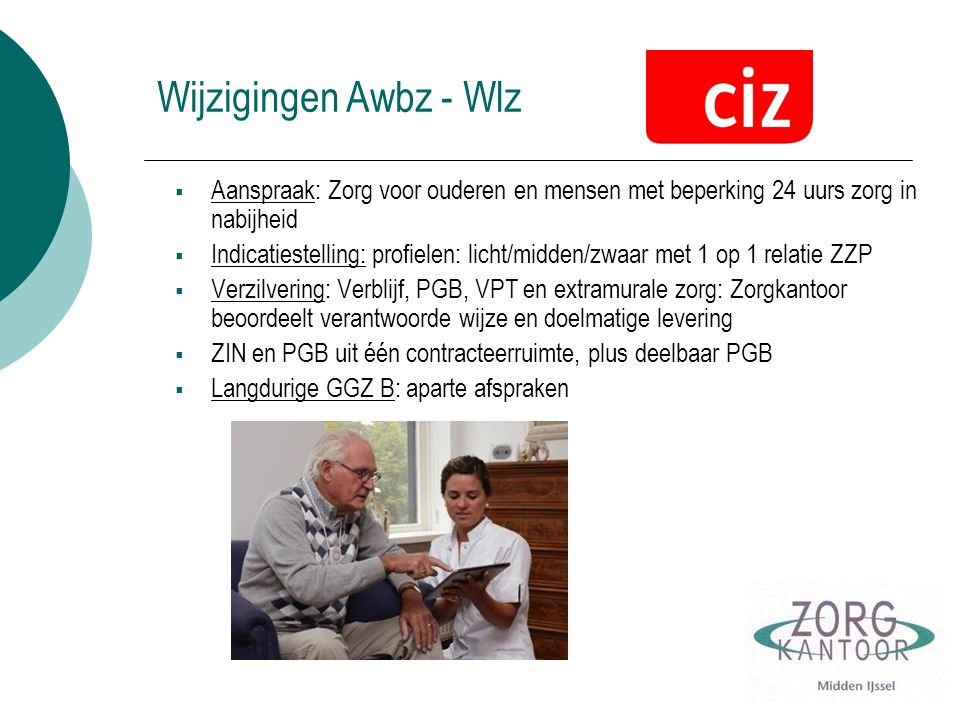 Wijzigingen Awbz - Wlz Aanspraak: Zorg voor ouderen en mensen met beperking 24 uurs zorg in nabijheid.