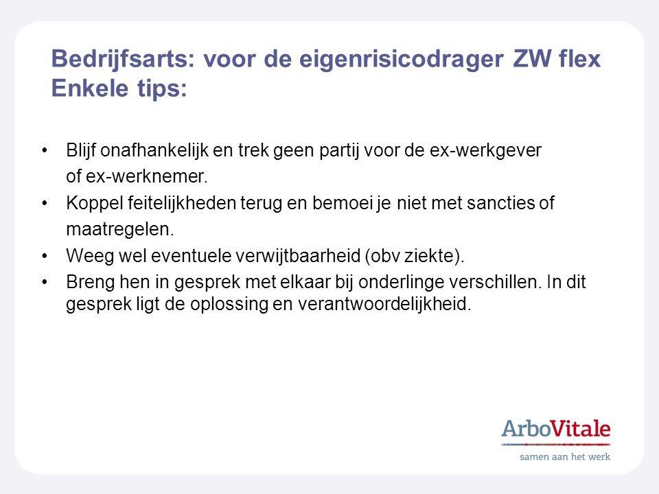 Bedrijfsarts: voor de eigenrisicodrager ZW flex Enkele tips: