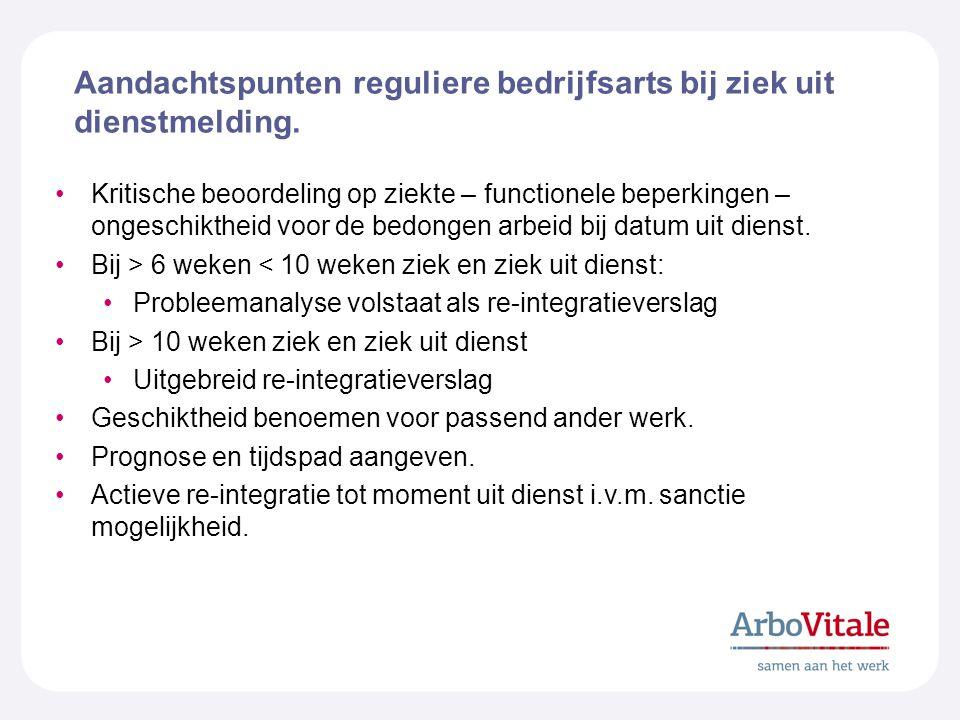 Aandachtspunten reguliere bedrijfsarts bij ziek uit dienstmelding.