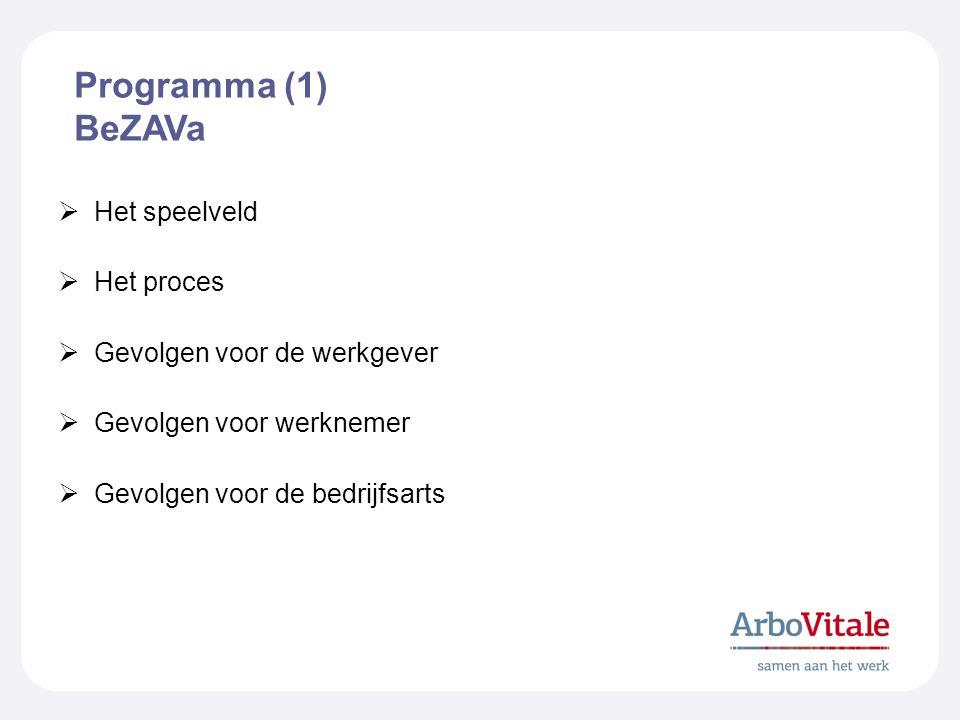 Programma (1) BeZAVa Het speelveld Het proces