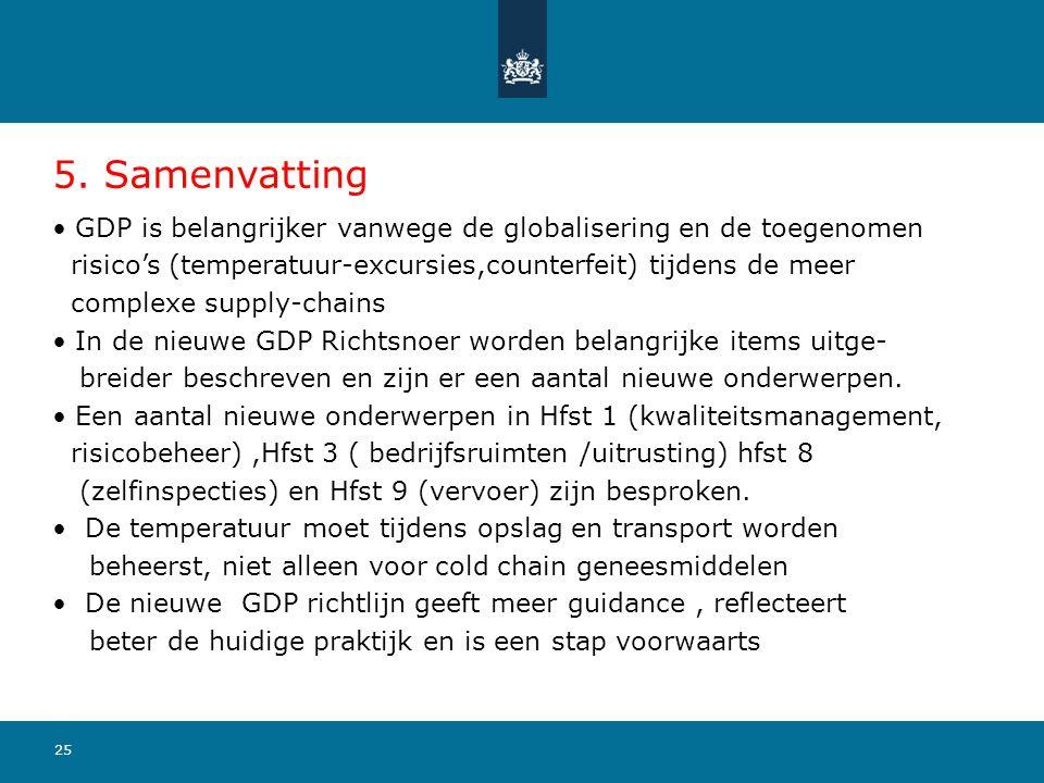 5. Samenvatting GDP is belangrijker vanwege de globalisering en de toegenomen. risico's (temperatuur-excursies,counterfeit) tijdens de meer.