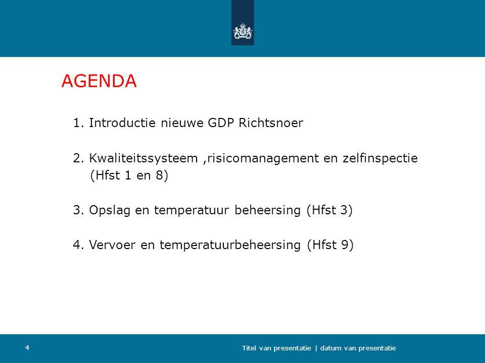AGENDA 1. Introductie nieuwe GDP Richtsnoer