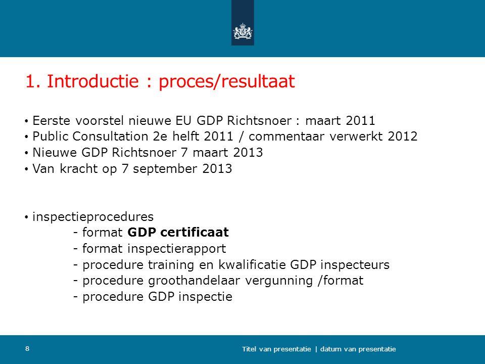 1. Introductie : proces/resultaat