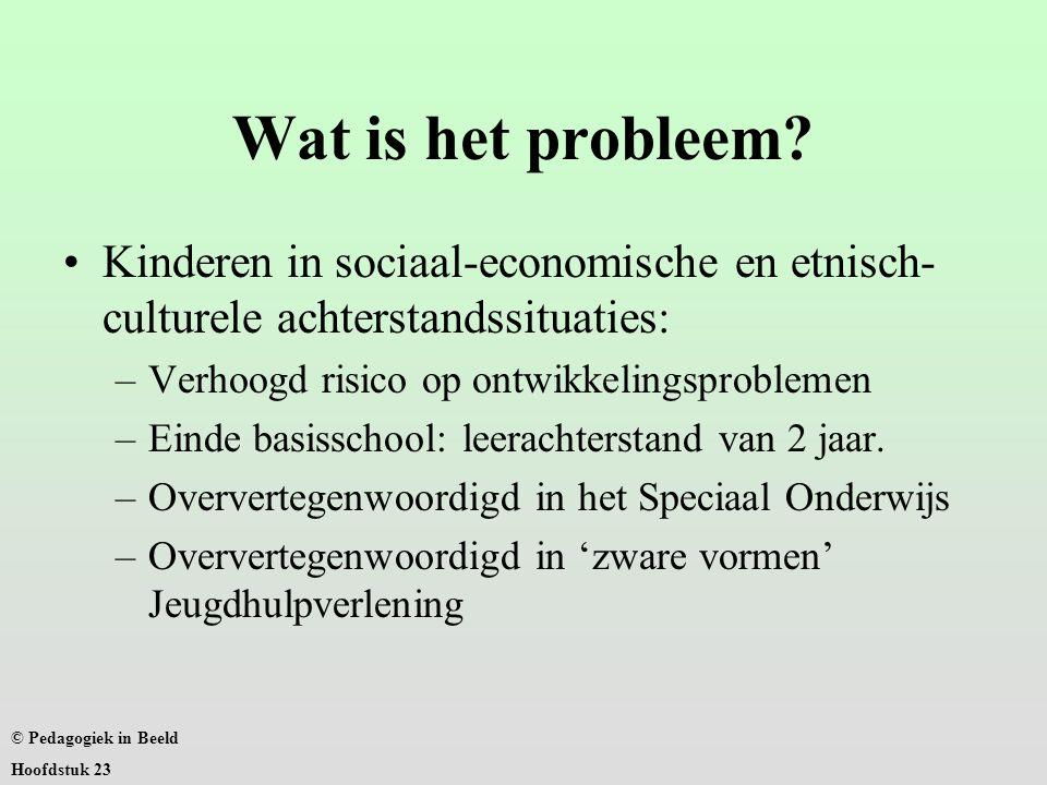 Wat is het probleem Kinderen in sociaal-economische en etnisch-culturele achterstandssituaties: Verhoogd risico op ontwikkelingsproblemen.