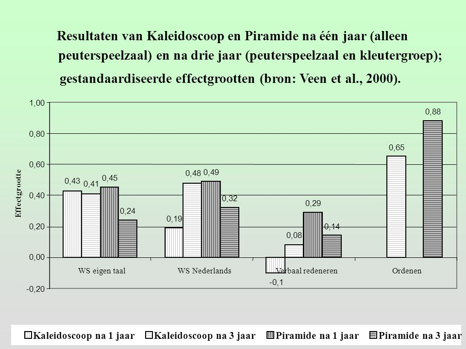 Resultaten van Kaleidoscoop en Piramide na één jaar (alleen