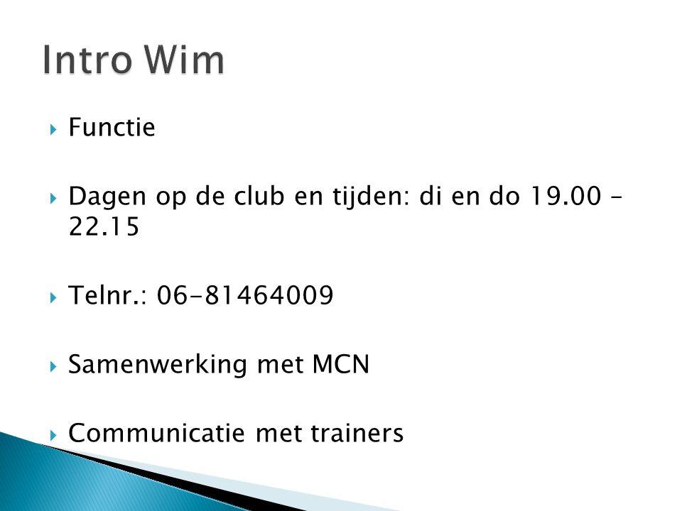 Intro Wim Functie Dagen op de club en tijden: di en do 19.00 – 22.15