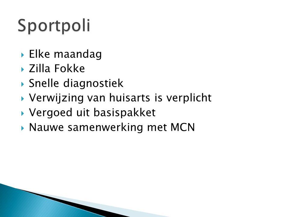 Sportpoli Elke maandag Zilla Fokke Snelle diagnostiek