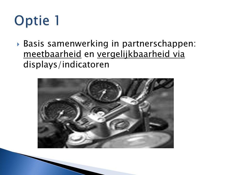 Optie 1 Basis samenwerking in partnerschappen: meetbaarheid en vergelijkbaarheid via displays/indicatoren.