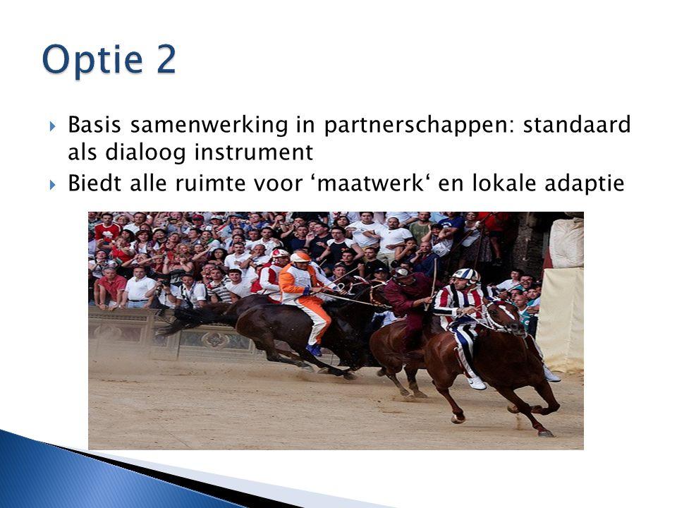 Optie 2 Basis samenwerking in partnerschappen: standaard als dialoog instrument.