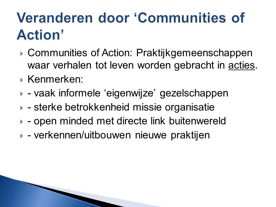 Veranderen door 'Communities of Action'