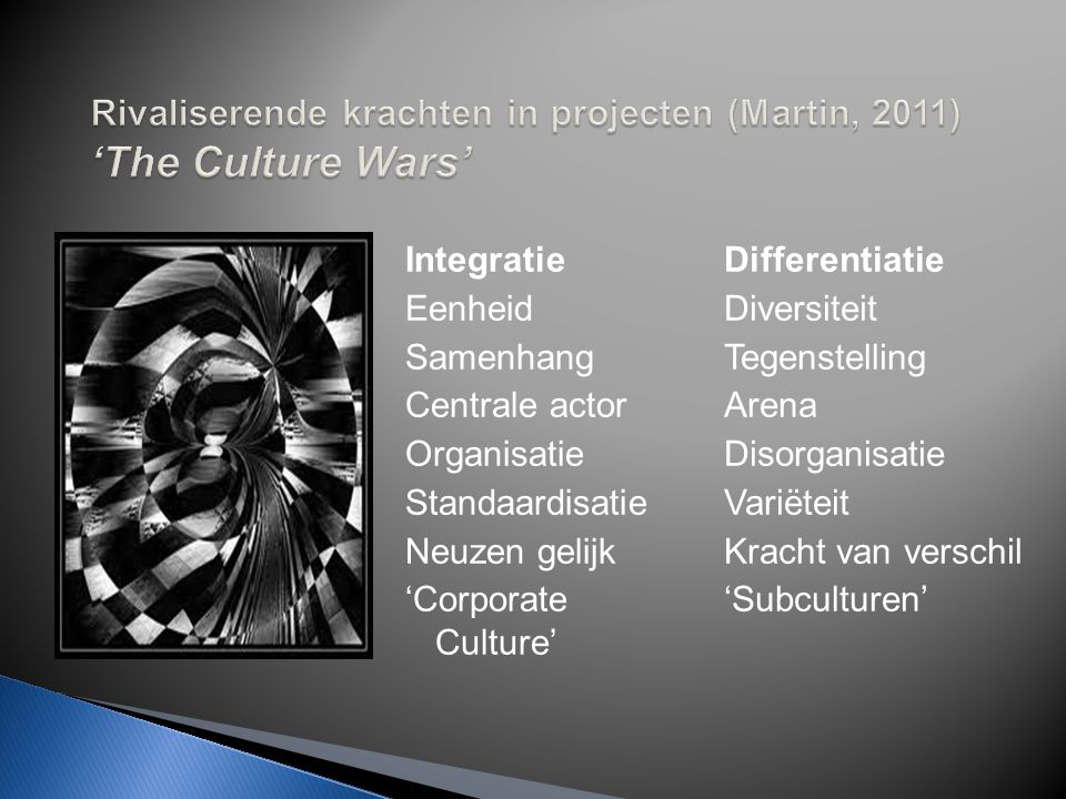 Rivaliserende krachten in projecten (Martin, 2011) 'The Culture Wars'