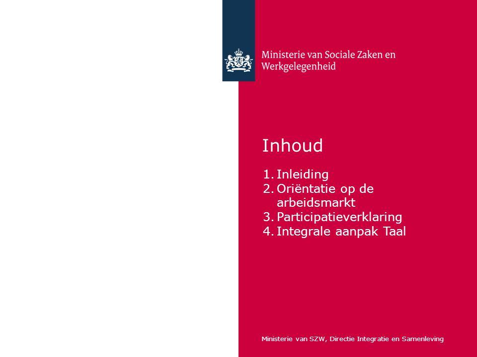 Inhoud Inleiding Oriëntatie op de arbeidsmarkt Participatieverklaring