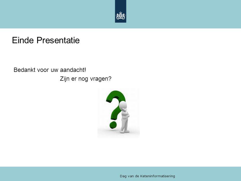 Einde Presentatie Bedankt voor uw aandacht! Zijn er nog vragen