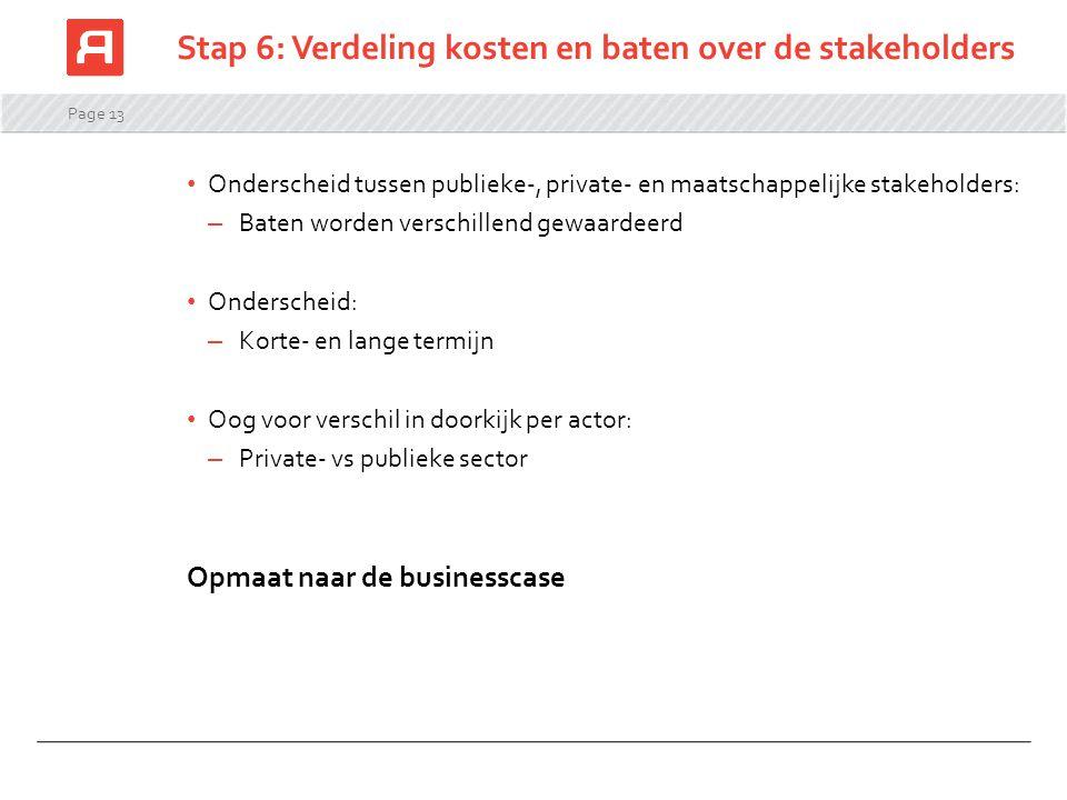 Stap 6: Verdeling kosten en baten over de stakeholders