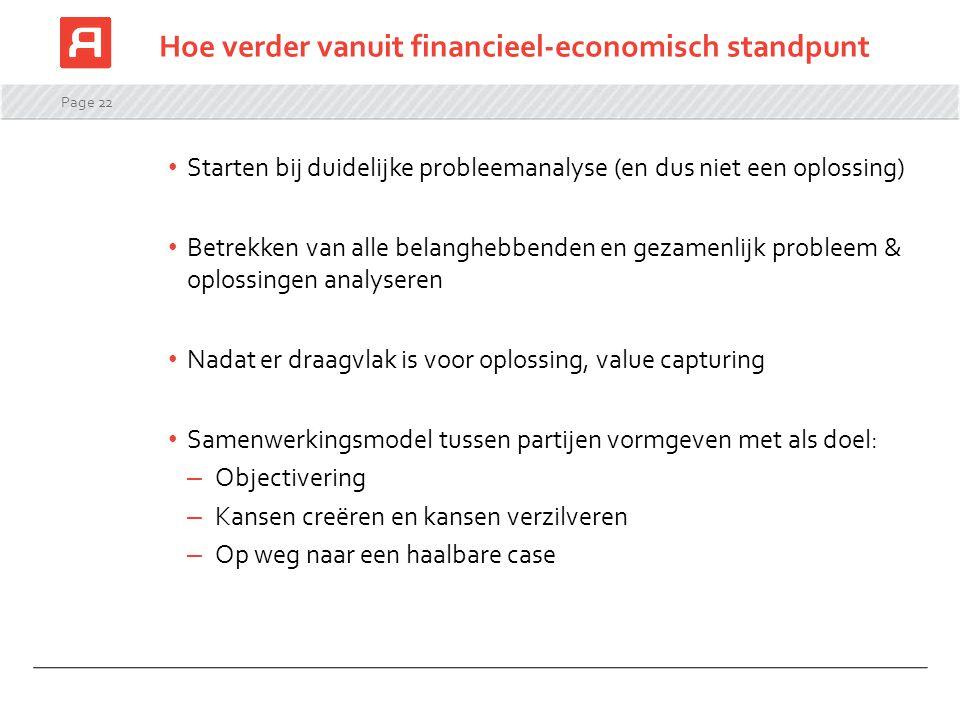 Hoe verder vanuit financieel-economisch standpunt