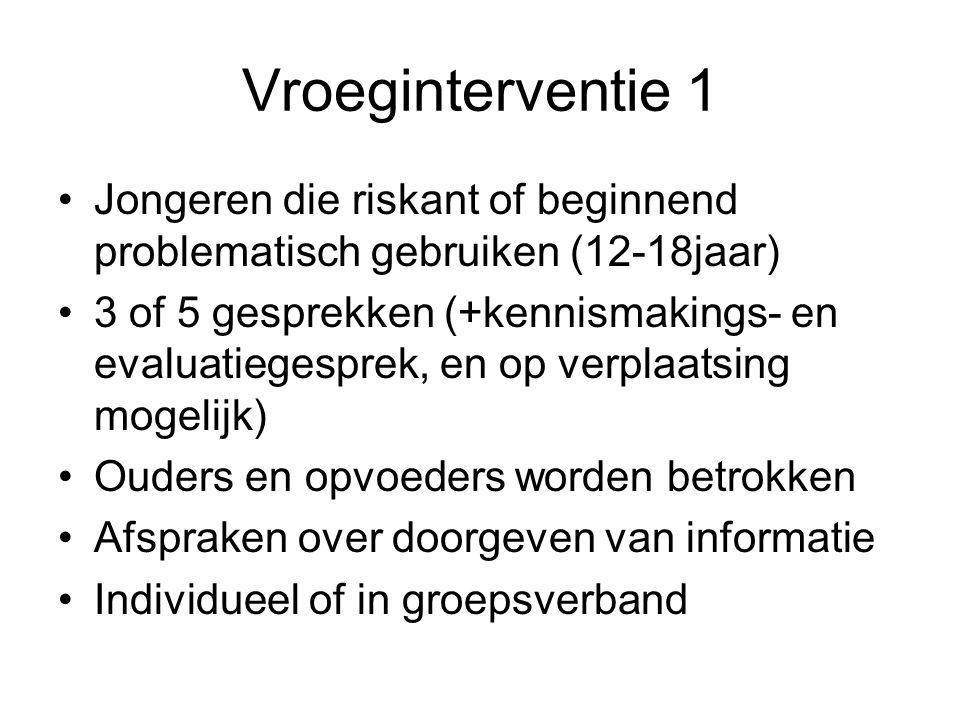Vroeginterventie 1 Jongeren die riskant of beginnend problematisch gebruiken (12-18jaar)