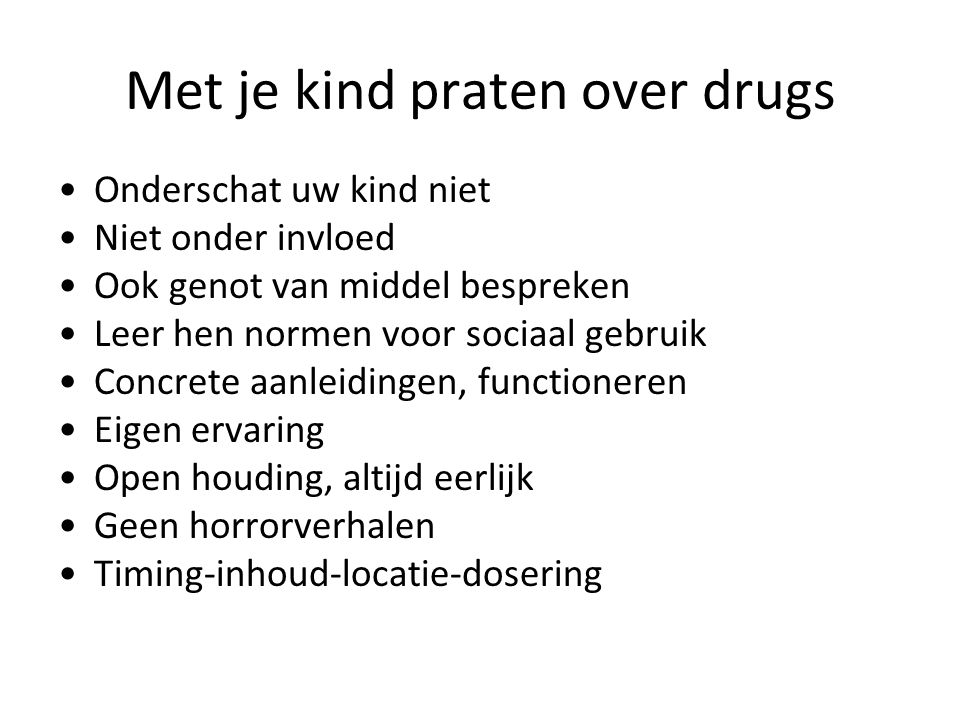 Met je kind praten over drugs