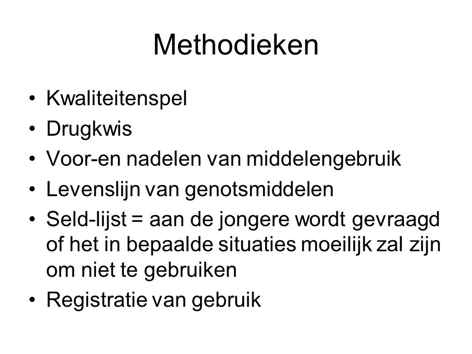 Methodieken Kwaliteitenspel Drugkwis