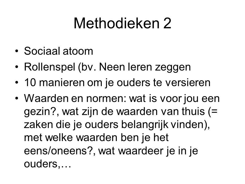Methodieken 2 Sociaal atoom Rollenspel (bv. Neen leren zeggen