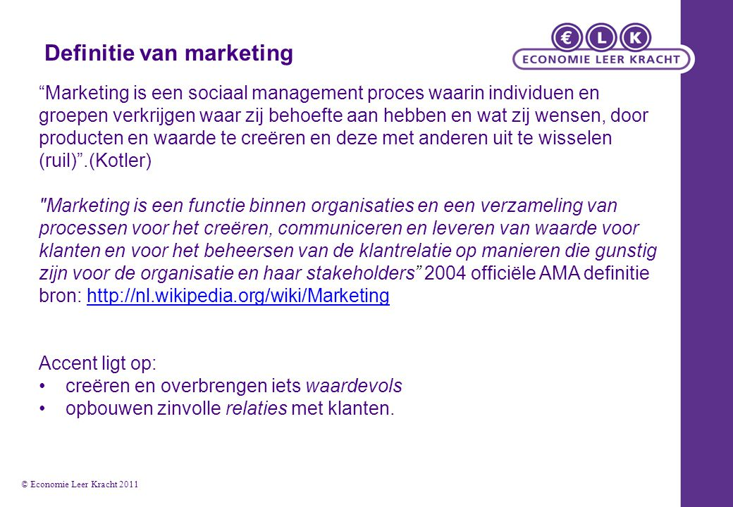 Definitie van marketing
