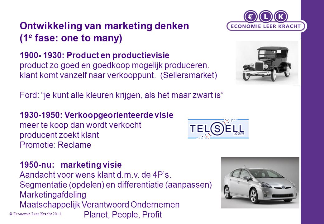 Ontwikkeling van marketing denken (1e fase: one to many)