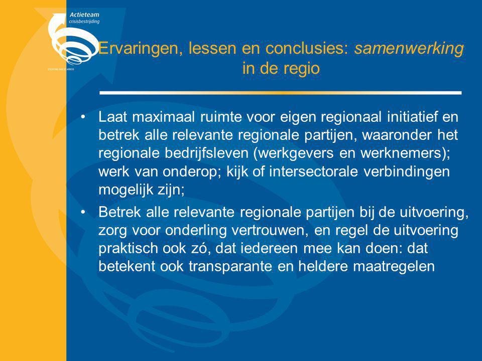 Ervaringen, lessen en conclusies: samenwerking in de regio