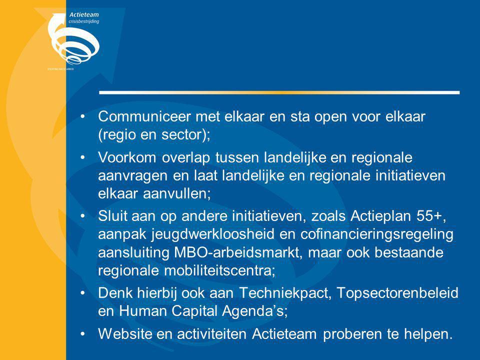 Communiceer met elkaar en sta open voor elkaar (regio en sector);