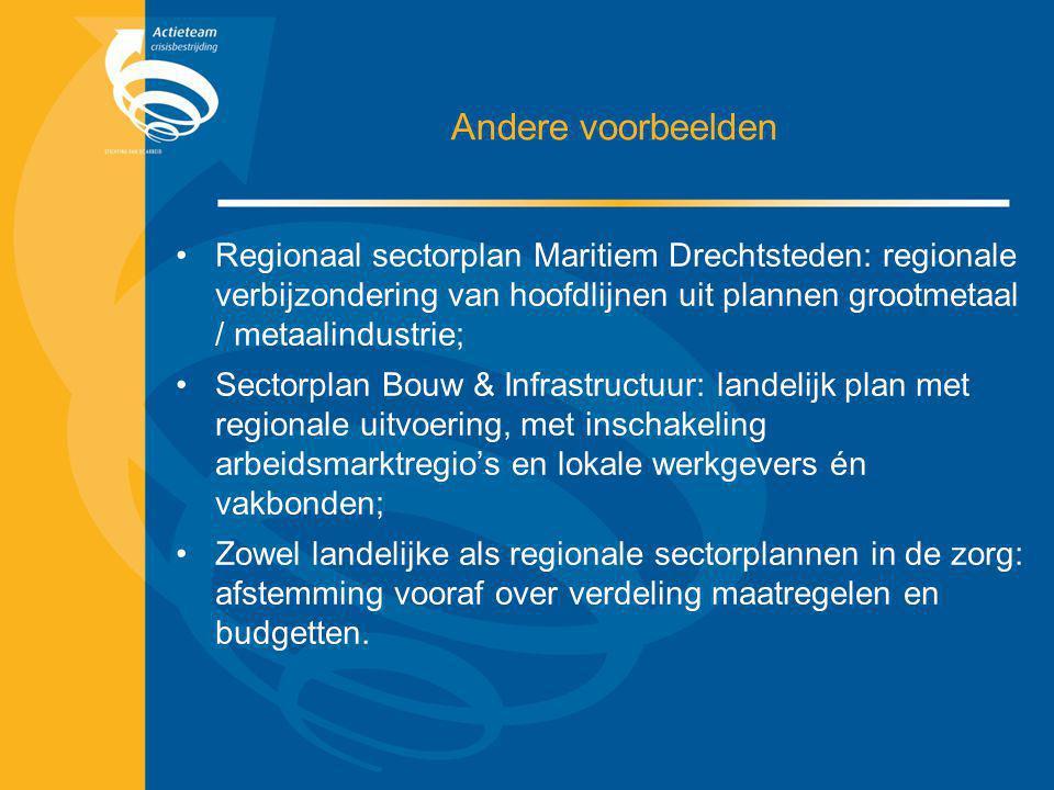 Andere voorbeelden Regionaal sectorplan Maritiem Drechtsteden: regionale verbijzondering van hoofdlijnen uit plannen grootmetaal / metaalindustrie;