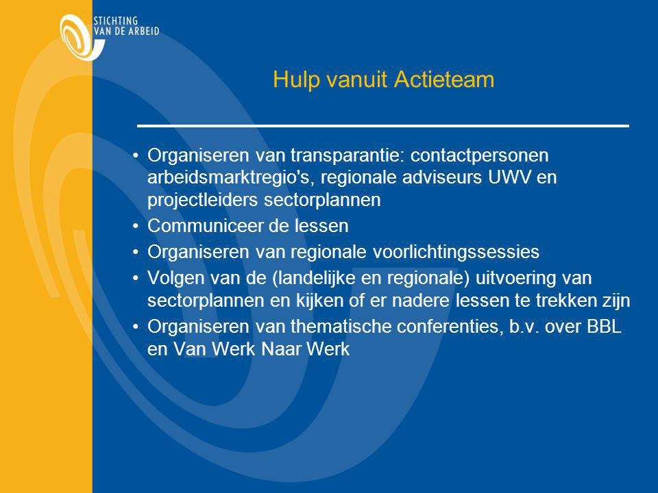 Hulp vanuit Actieteam Organiseren van transparantie: contactpersonen arbeidsmarktregio s, regionale adviseurs UWV en projectleiders sectorplannen.