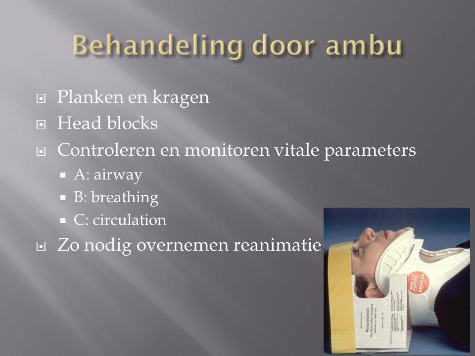 Behandeling door ambu Planken en kragen Head blocks