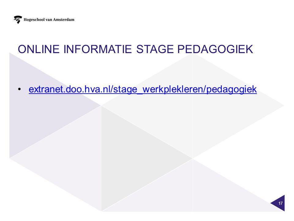 Online informatie stage pedagogiek