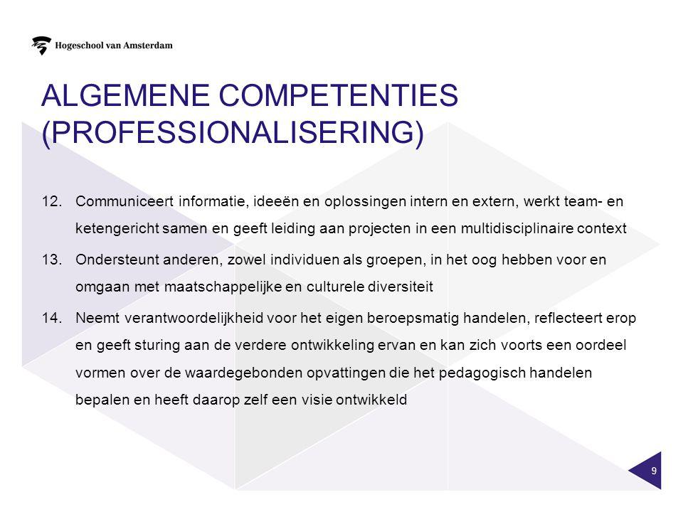 ALGEMENE COMPETENTIES (PROFESSIONALISERING)