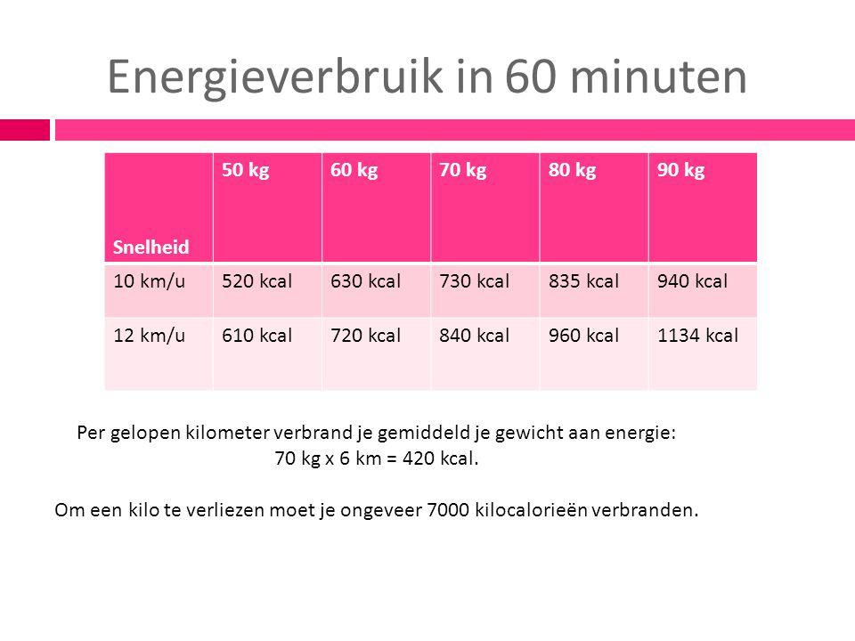 Energieverbruik in 60 minuten