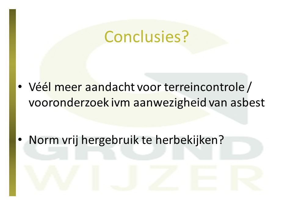 Conclusies. Véél meer aandacht voor terreincontrole / vooronderzoek ivm aanwezigheid van asbest.