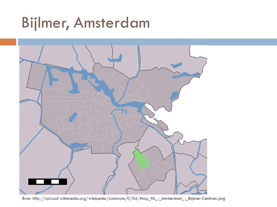 Bijlmer, Amsterdam Bron: http://upload.wikimedia.org/wikipedia/commons/0/04/Map_NL_-_Amsterdam_-_Bijlmer-Centrum.png.