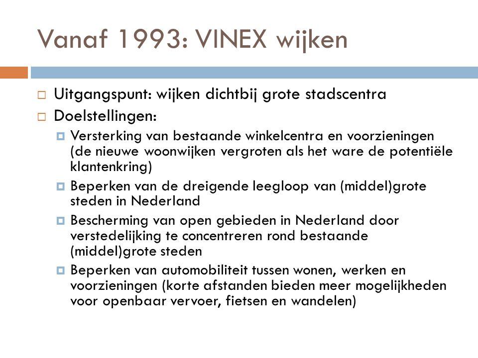 Vanaf 1993: VINEX wijken Uitgangspunt: wijken dichtbij grote stadscentra. Doelstellingen: