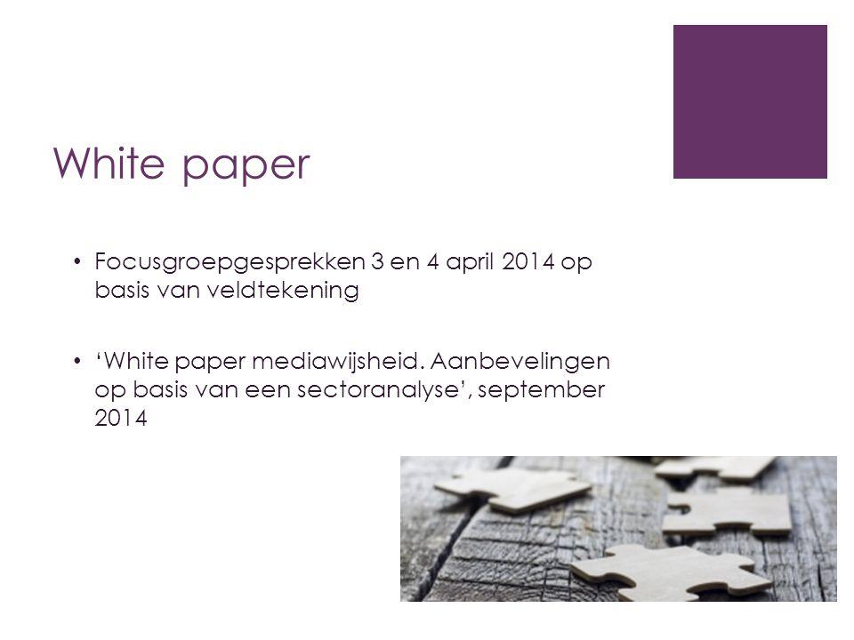 White paper Focusgroepgesprekken 3 en 4 april 2014 op basis van veldtekening.
