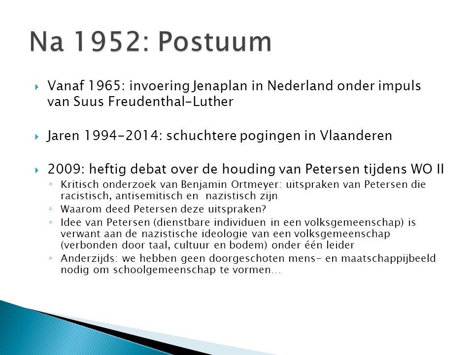 Na 1952: Postuum Vanaf 1965: invoering Jenaplan in Nederland onder impuls van Suus Freudenthal-Luther.