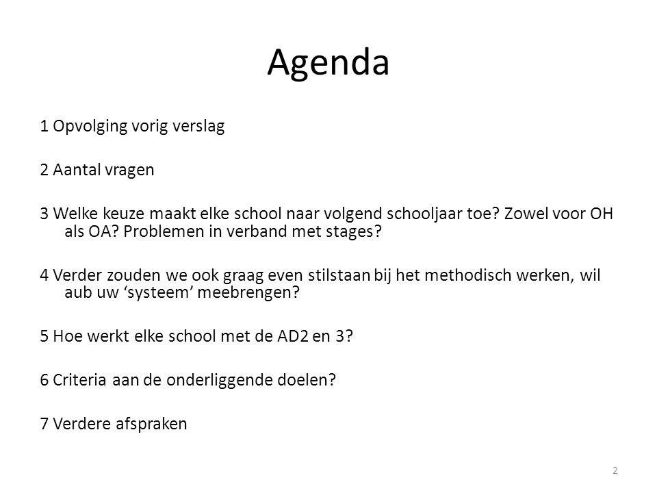 Agenda 1 Opvolging vorig verslag 2 Aantal vragen