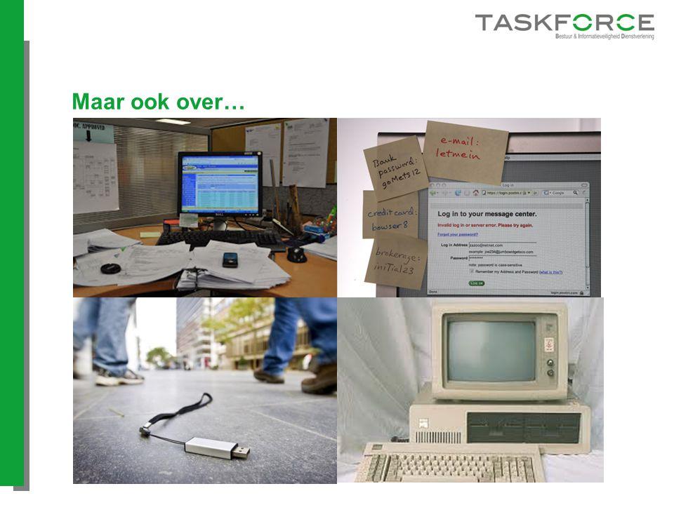 Maar ook over… Clear desk policy/onbeheerde werkplek Wachtwoordbeleid
