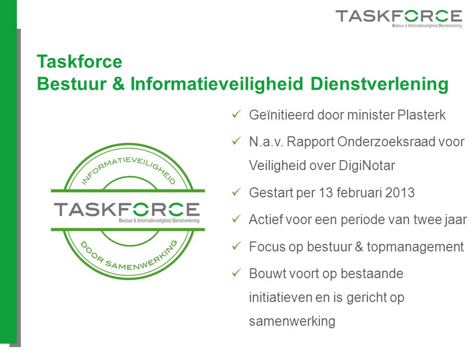 Taskforce Bestuur & Informatieveiligheid Dienstverlening