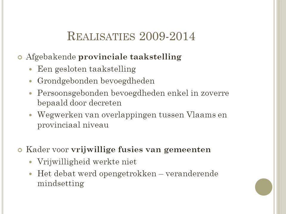 Realisaties 2009-2014 Afgebakende provinciale taakstelling