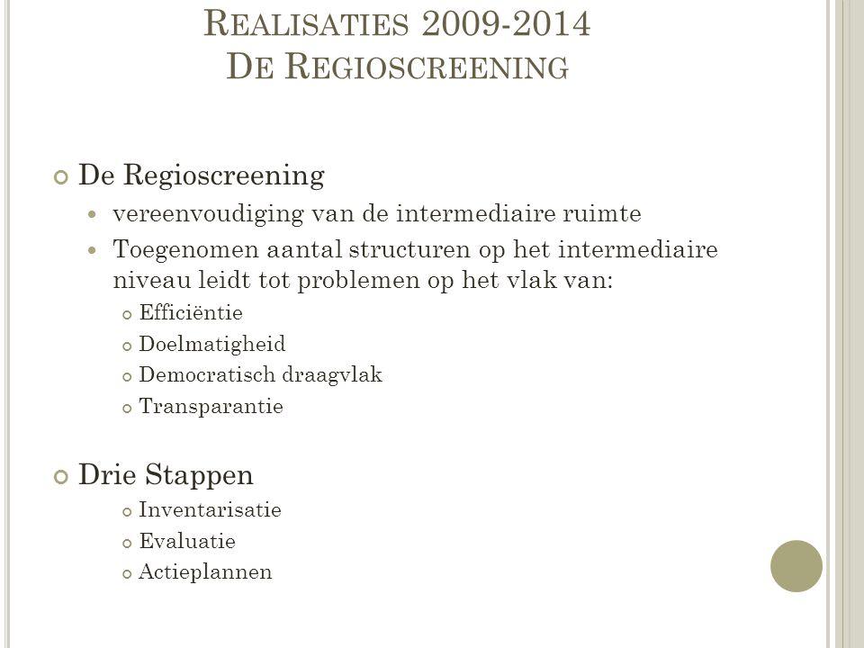 Realisaties 2009-2014 De Regioscreening