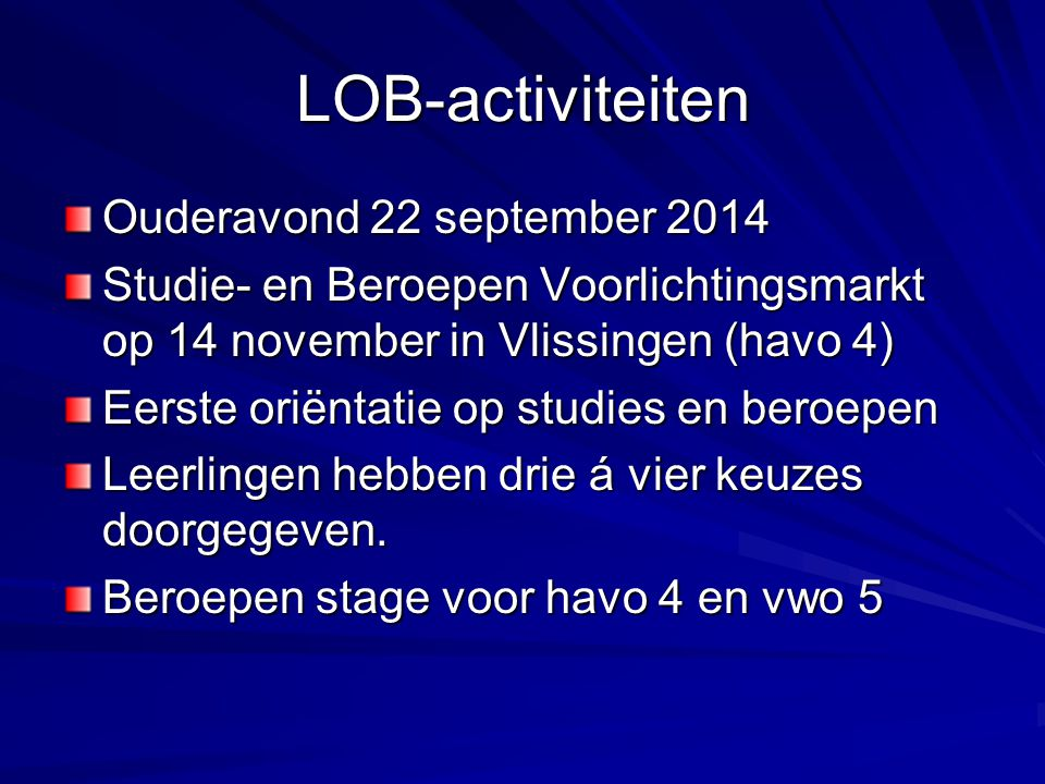 LOB-activiteiten Ouderavond 22 september 2014