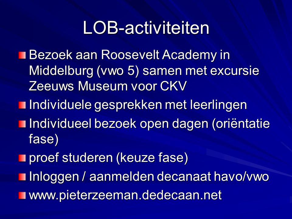 LOB-activiteiten Bezoek aan Roosevelt Academy in Middelburg (vwo 5) samen met excursie Zeeuws Museum voor CKV.
